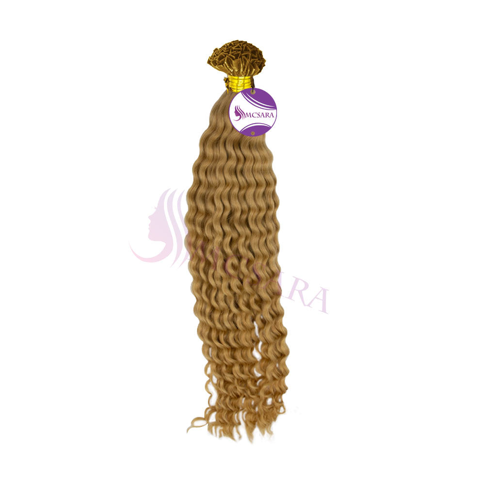 v tip hair extensions wavy blonde color