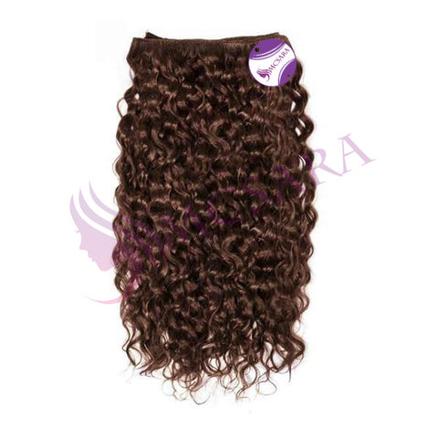 Weave curly hair brown color A++