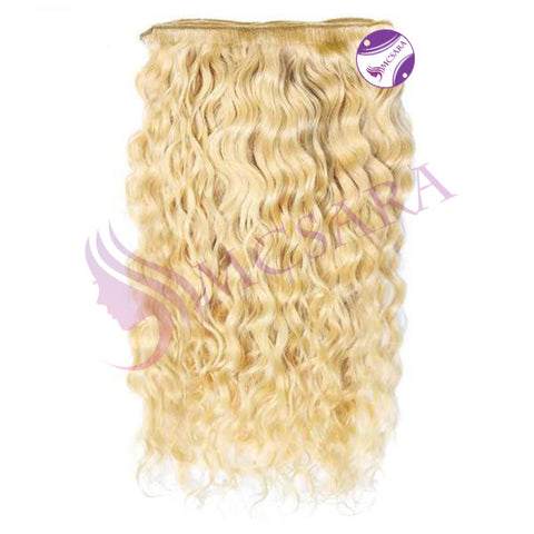 Weave curly hair extensions blonde color A+