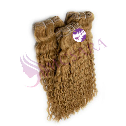 WEAVE DEEP CURLY BLONDE COLOR  #18