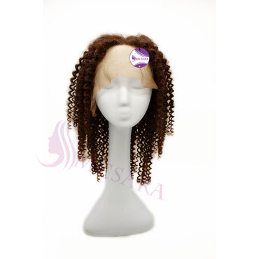 Wig curly dark brown color