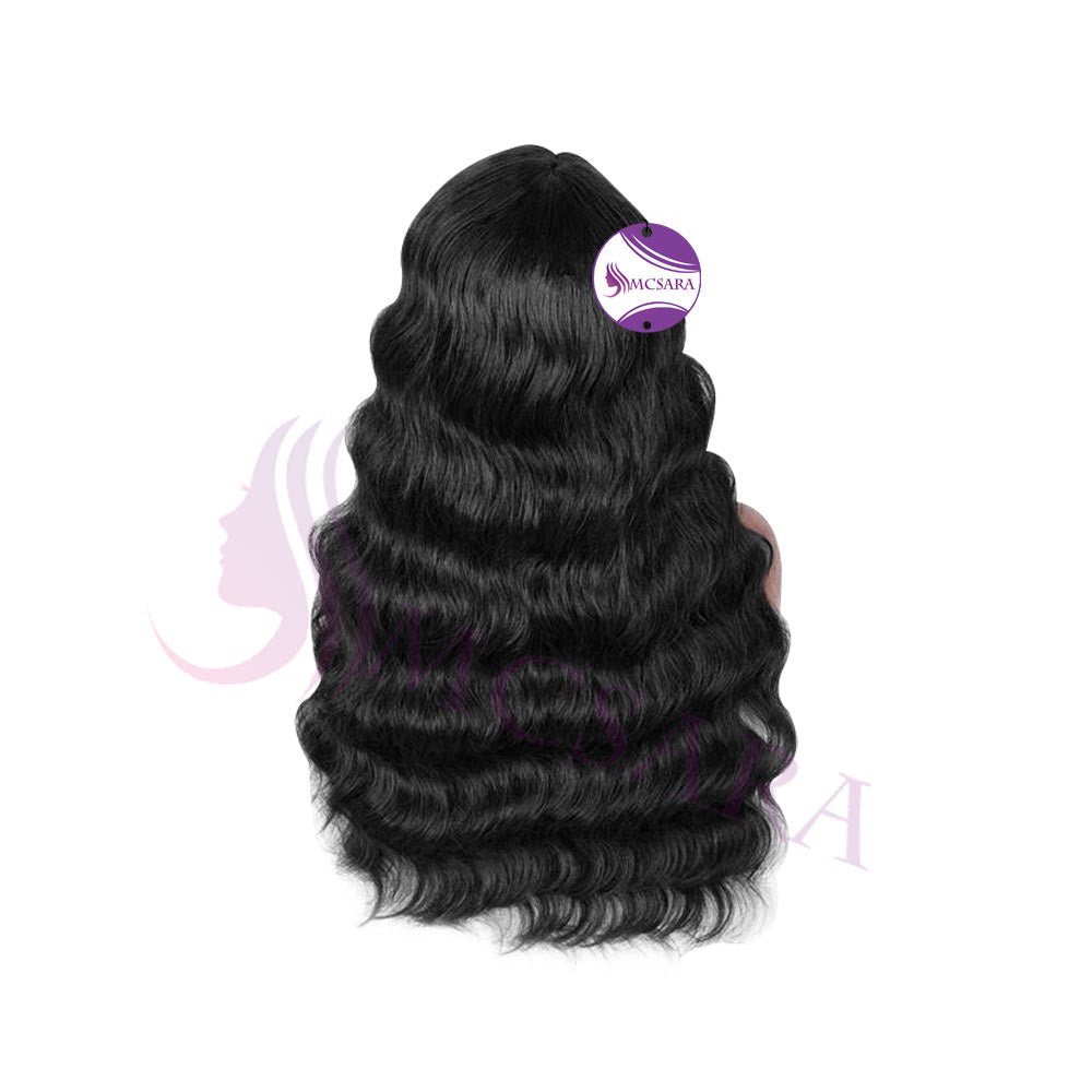 Wig wavy hair black color