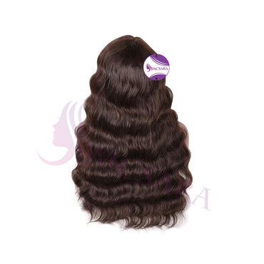 Wig wavy dark brown color