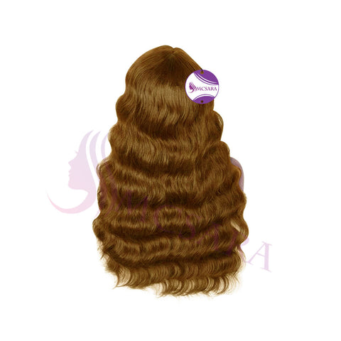 Human hair wigs wavy light brown color