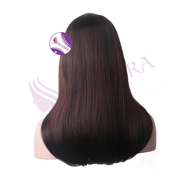 Wig straight dark brown color