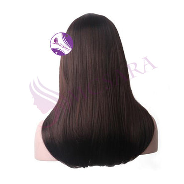 human straight hair wigs dark brown color