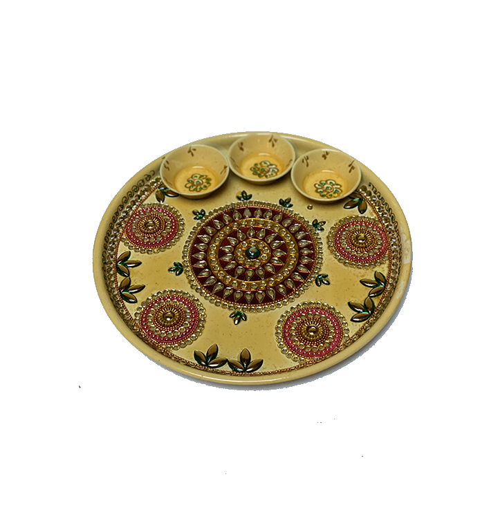 "Puja Dish - 10"" (Inches) - Yellow"