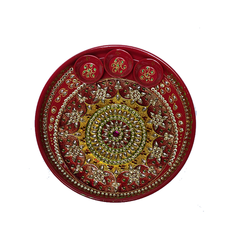 "Puja Dish - 10"" (Inches) - Red"