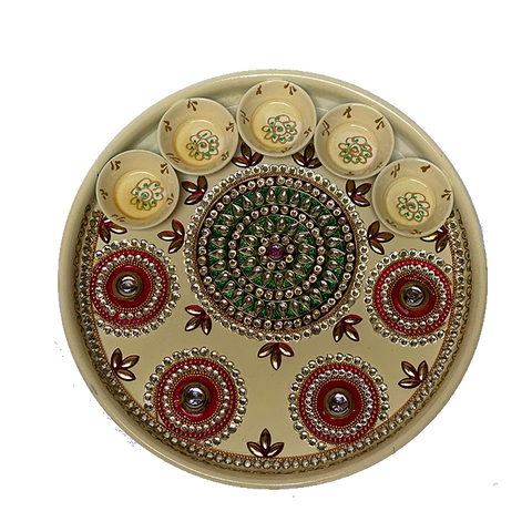 "Puja Dish - 12"" (Inches) - Yellow"