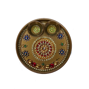 "Puja Dish - 7"" (Inches) - Gold"