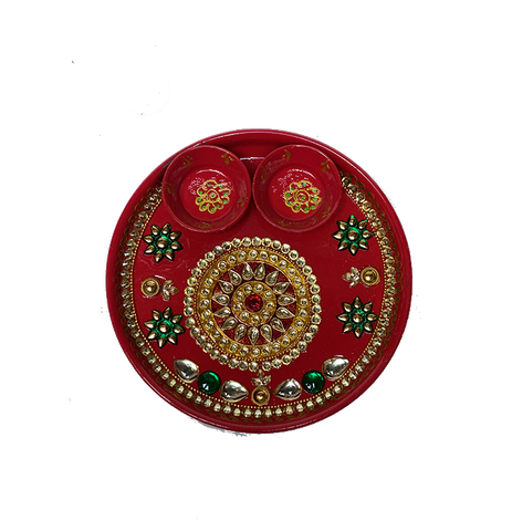 "Puja Dish - 7"" (Inches) - Red"
