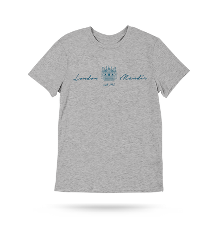 London Mandir Script T-Shirt - Grey
