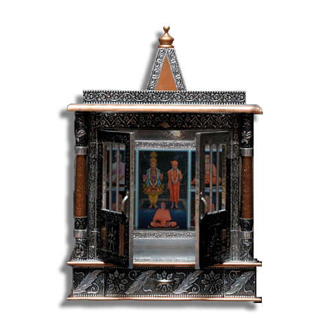 "Ghar Mandir Oxidised - 14"" x 7"" x 13"" (Inches)"