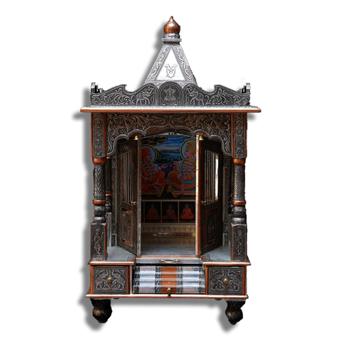 "Ghar Mandir - Oxidised 21"" x 18"" x 39"" (Inches)"