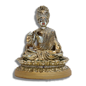 "Bhagwan Swaminarayan - 7.5"" (Inches) - Fibre Shiny Gold Finish"