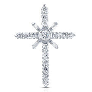 14 Karat Baguette and Round Diamond Cross