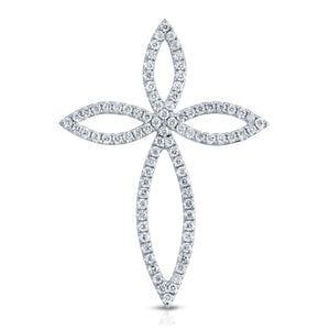 14 Karat Gold Diamond Cross Pendant