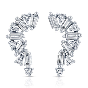 14 Karat White Gold Baguette and Round Diamond Earrings