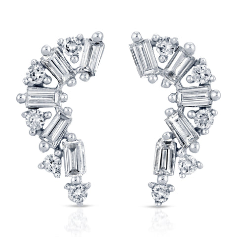 14 Karat White Gold Baguette & Round Diamond Earrings