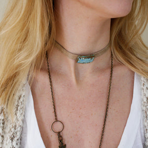 Rectangle Gem/Wrap Choker