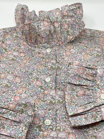 CAMICIA LIBERTY FABRIC COLLETTO MAXI ROUCHES - Ghiglino1893