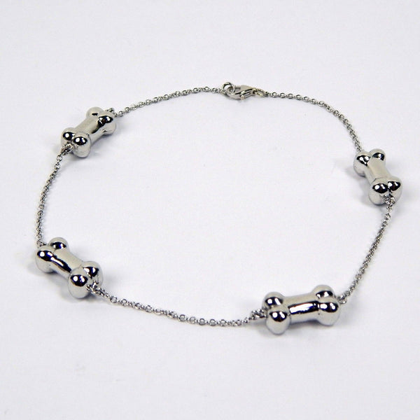 14k white gold bone ankle bracelet # 10476