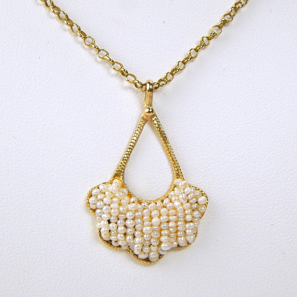 Art Deco 18k gold seed pearl necklace  #10112