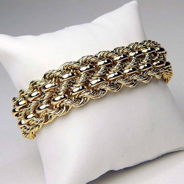 14k yellow gold rope chain bracelet #10141