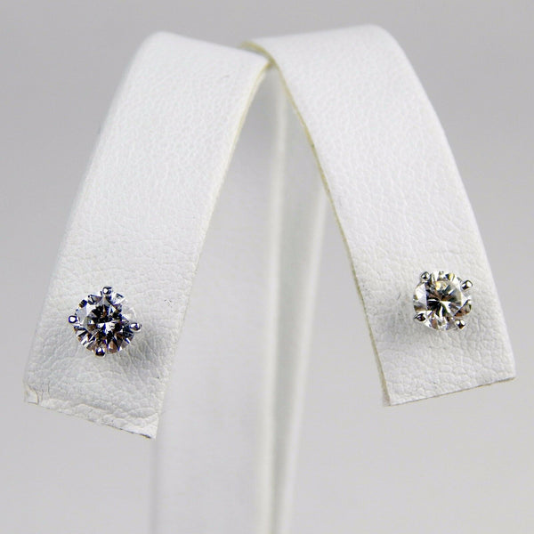 14k white gold .85 Ctw diamond stud earrings  #10492