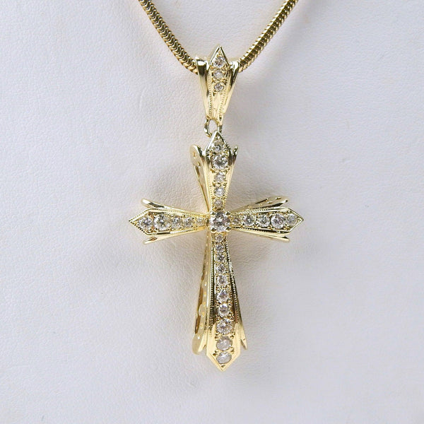 14k .85 Ctw diamond cross necklace  #10498