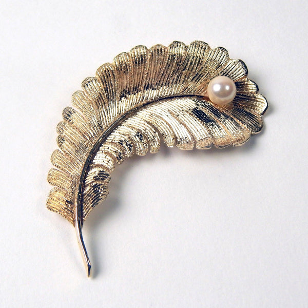 14k gold akoya pearl feather brooch #10471