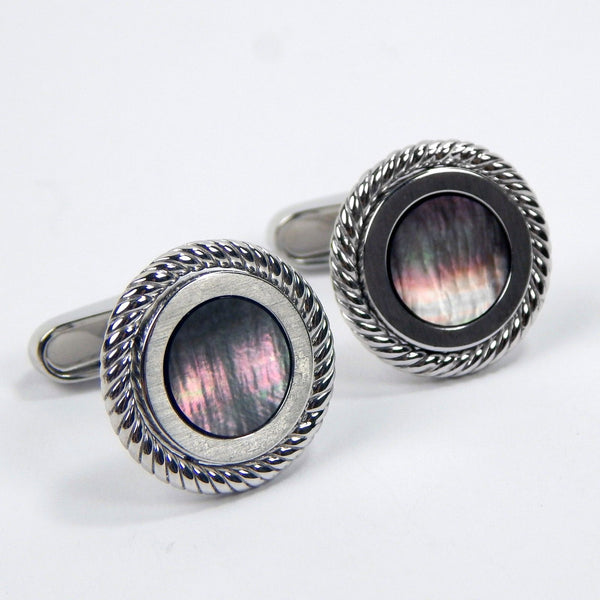 18k white gold mother pearl cufflinks #10303