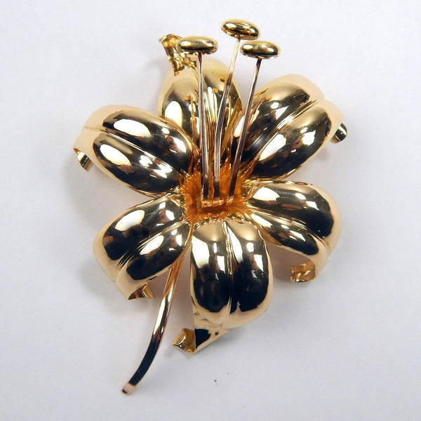 18k pink gold swedish floral brooch #10401