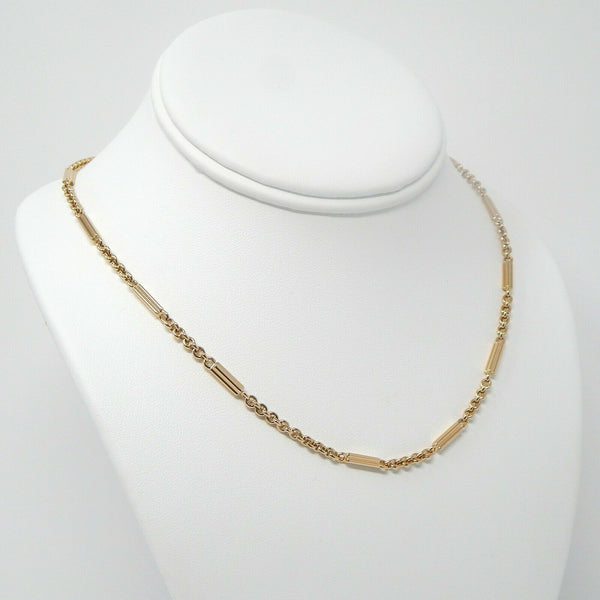 Art Deco 14k gold watch chain necklace #10500