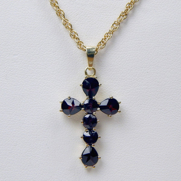 14k bohemian rose cut garnet cross necklace #10482