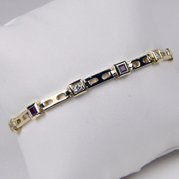 14k yellow gold diamond ruby tennis bracelet #10143