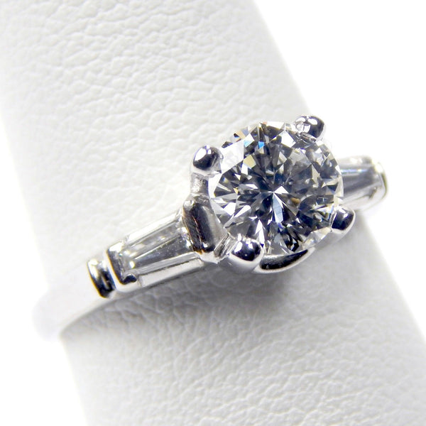 platinum 1.01 Ct diamond solitaire ring #10497