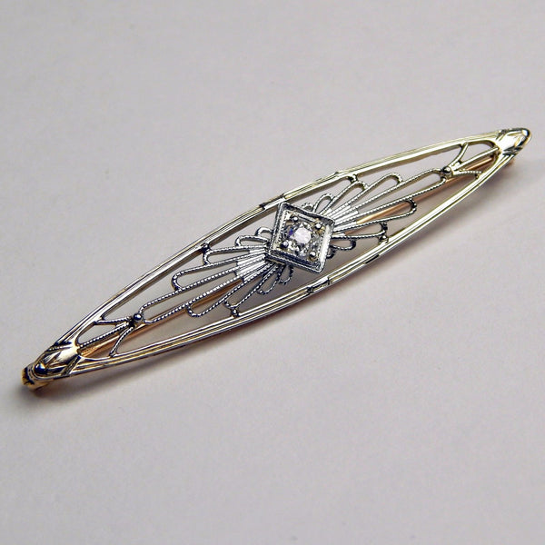 Edwardian 14k gold euro cut diamond brooch #10237