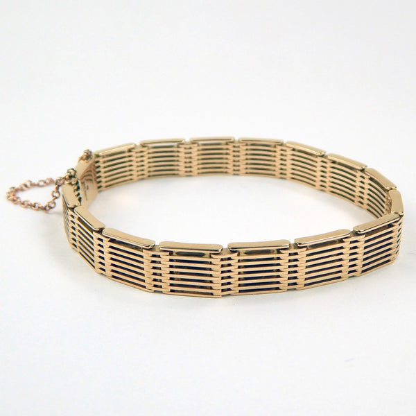 London Made 15k gold gate link bracelet #10415