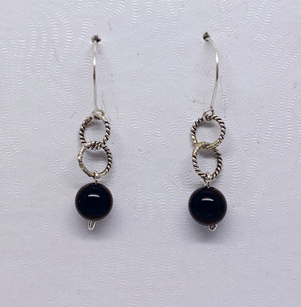 sterling silver onyx earrings #435
