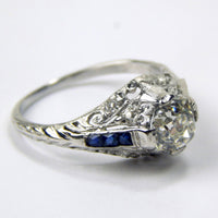 Deco platinum 1.23 Ct diamond sapphire ring #10499