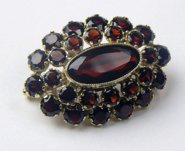 vintage 8K yellow gold garnet brooch #10455