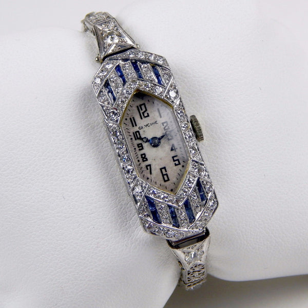 Art Deco Glycine 14k gold diamond sapphire women watch #10603