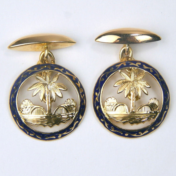 18k gold enamel oasis cufflinks set #10214