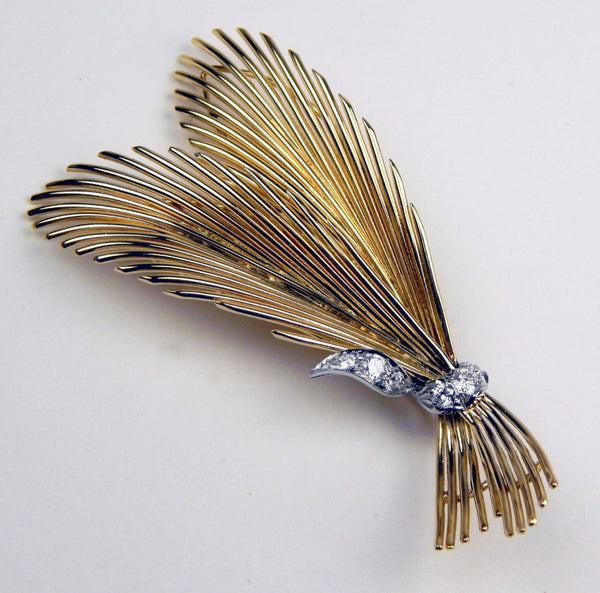 18k gold .25 Ctw diamond feathers brooch #10210
