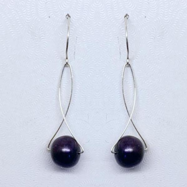 handcrafted Sterling silver pearl earrings #314