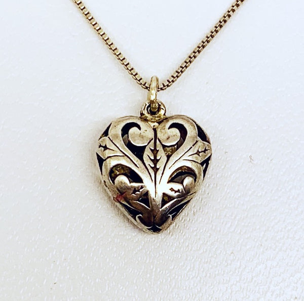 sterling silver carved heart pendant #352