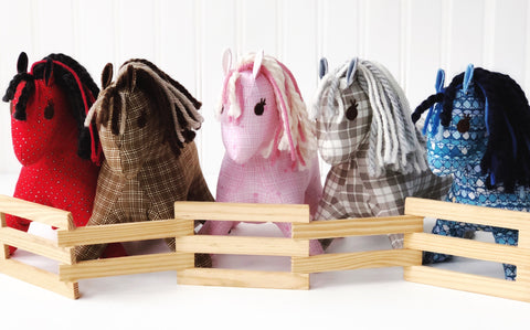 Horse corral, horses stuffed animals