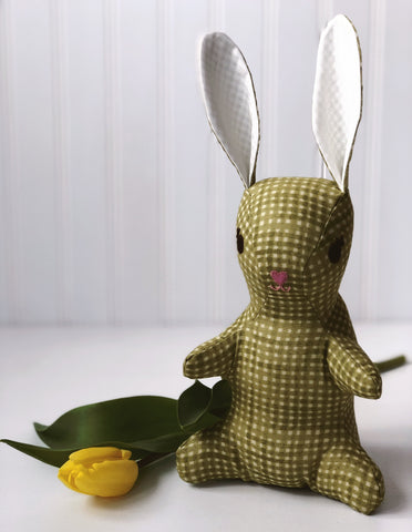 Green Check bunny stuffed animal