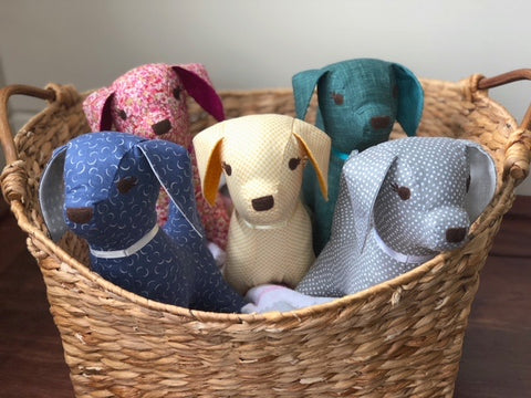 Basket of puppies stuffed animals